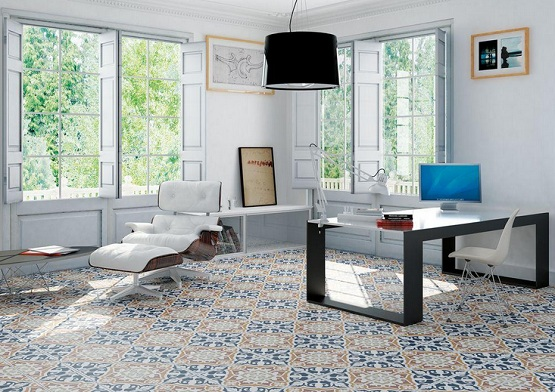 Patterned floor tiles in modern home office design