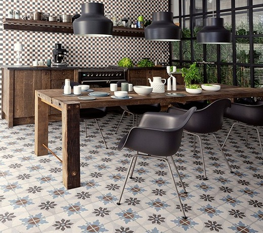 Retro patterned floor tiles in vintage kitchen and dining room design