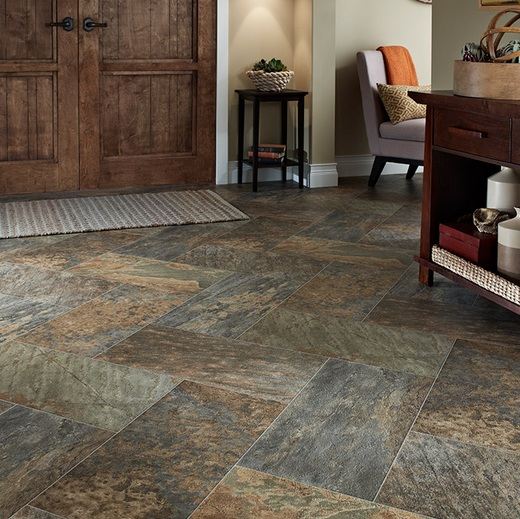 Slate tile effect laminate flooring for stylis home decor