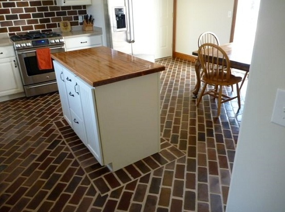 Small running bond brick floor tile flooring pattern in kitchen