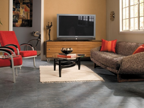 Tile effect laminate flooring in living room