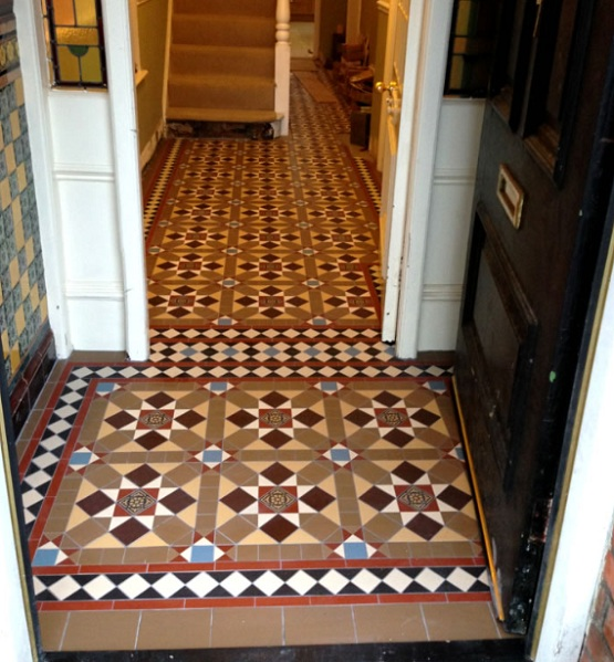 Victorian patterned floor tiles for entryway tile