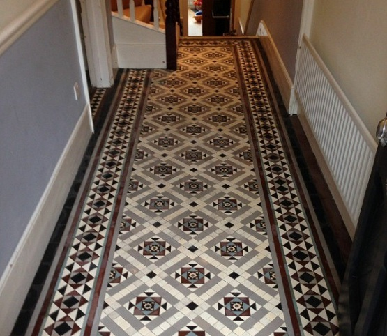 Victorian patterned floor tiles hallway