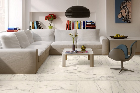 White tile effect laminate flooring for contemporary living room