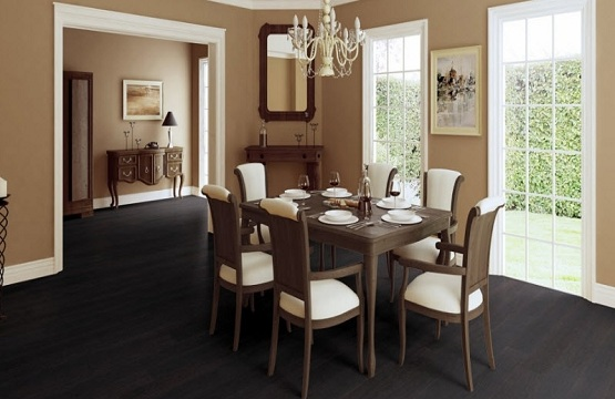 Black oak laminate flooring in dining room with wooden furniture