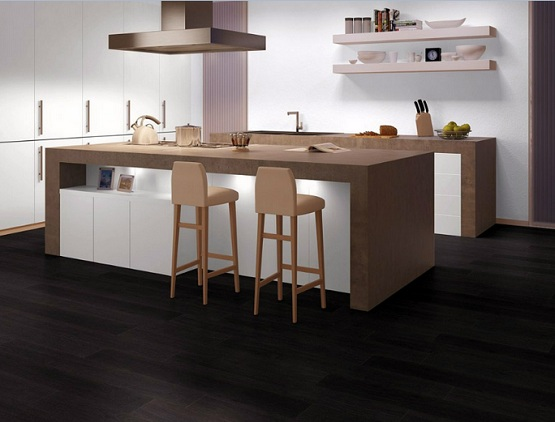 Black oak laminate flooring in modern kitchen design