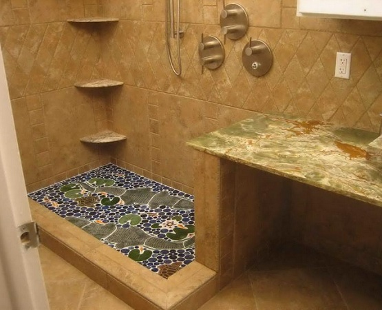 Blue decorative pebble shower floor for decoration