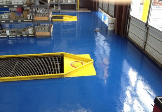 Blue workshop floor paint ideas