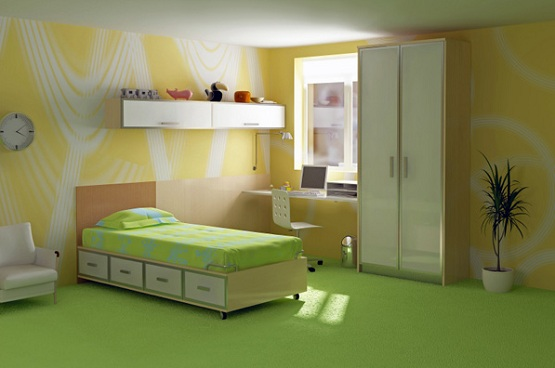 Bright green floor paint ideas for kid bedroom
