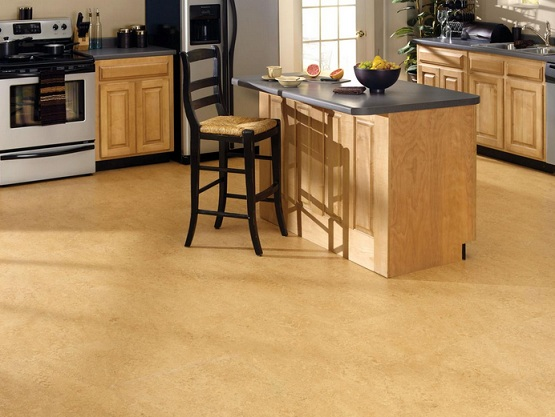 Cork floor coverings for kitchens
