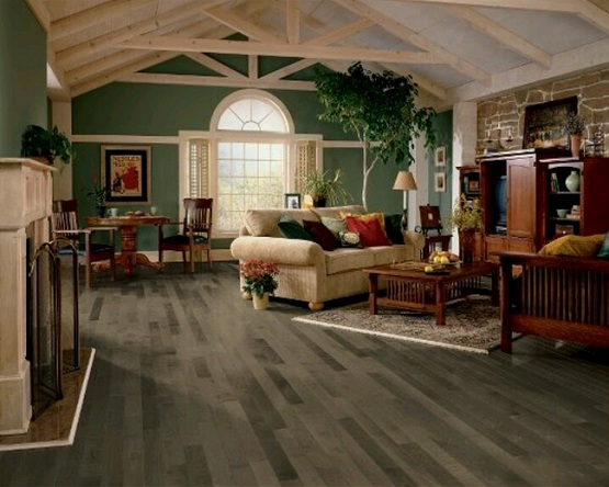 Dark grey wood laminate flooring in rustic living room decoration