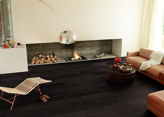 Fireplace flooring ideas with black oak laminate flooring