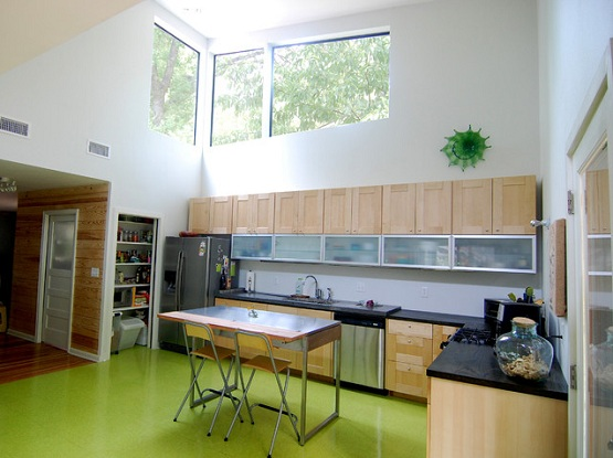 Green floor paint ideas for contemporary kitchen