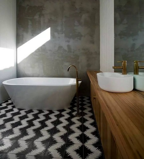 Painting black and white bathroom floor tiles ideas