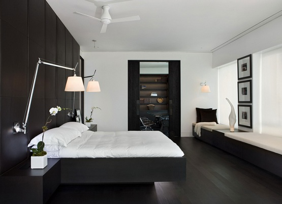 White Bedroom With Black Oak Laminate Flooring