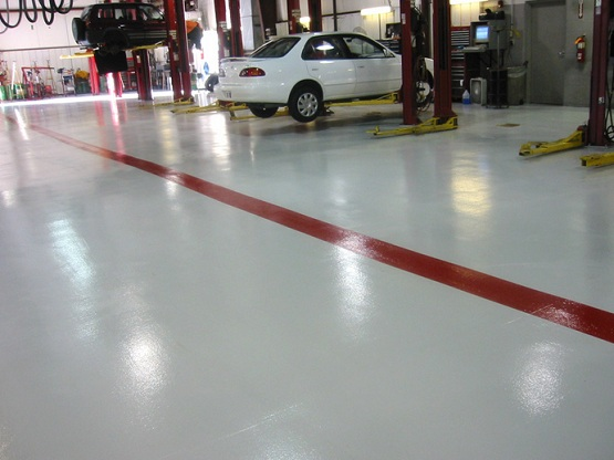 White workshop floor paint with border
