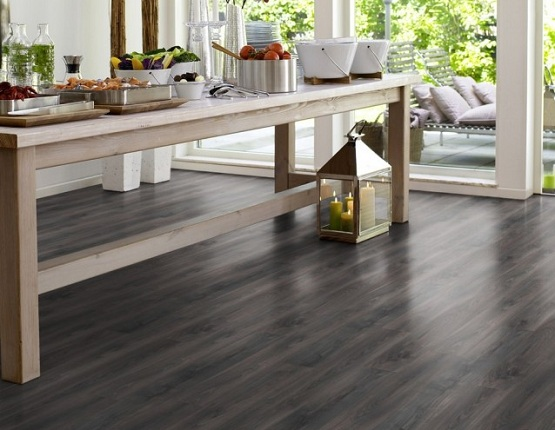 Beautiful dark grey laminate flooring installation