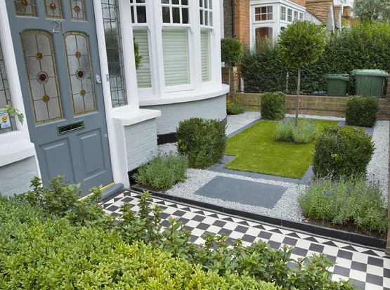 Black & white tile garden flooring ideas with gravel floor