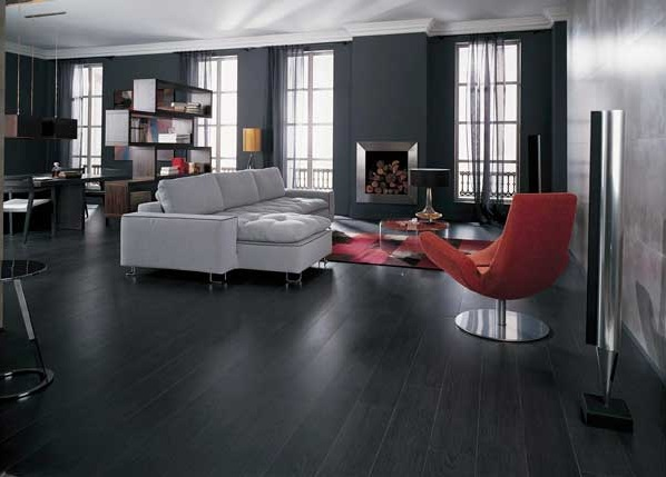 Black wooden flooring with black wall paint