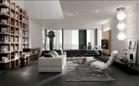 Black wooden flooring with white sofa