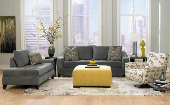 Cream laminate flooring combined with grey contemporary fabric sofa Set