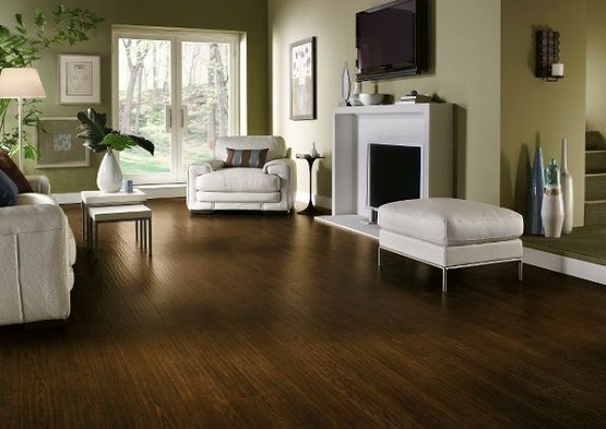 Dark brown laminate flooring for living room with fireplace