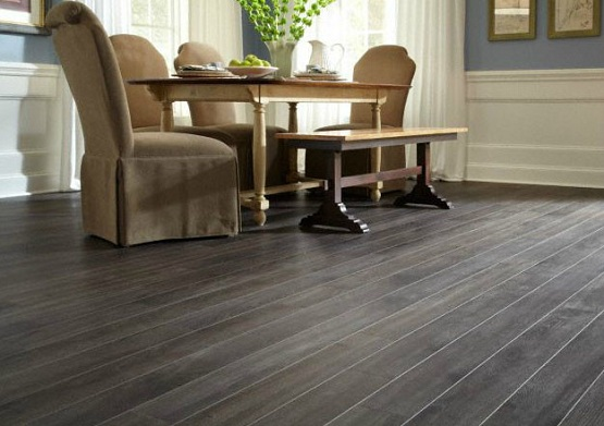 Dark Grey Laminate Flooring Maintain And Cleaning Tips In Dining Room With Bench