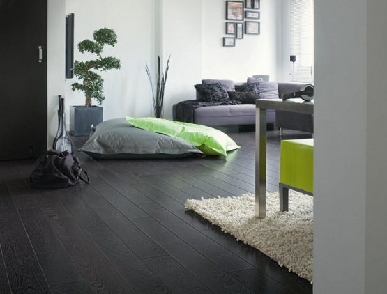 Dark laminate wood flooring for modern living room