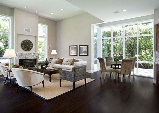 Dark laminate wood flooring in modern classic living room