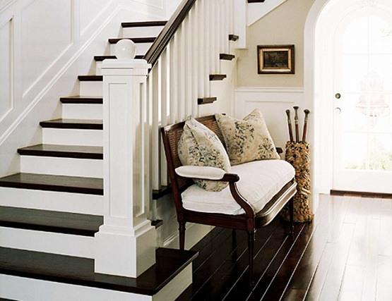 Laminate flooring for stairs with black and white finish