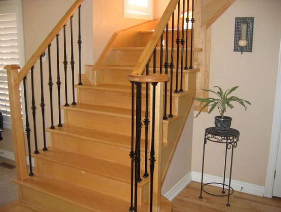 Laminate flooring for stairs with light brown finish