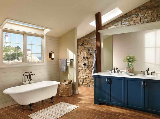 Laminate Flooring In Bathroom Ideas » Laminate Flooring In Bathroom With Brick  Wall