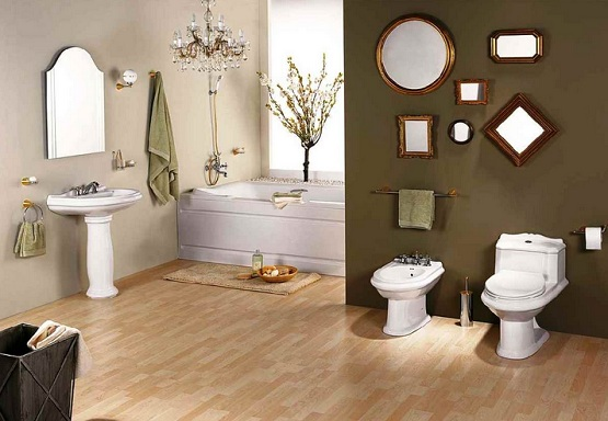 Laminate flooring in bathroom with decorative mirrors