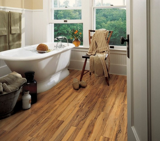 Laminate flooring in bathroom with slide up window