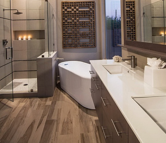 Laminate Flooring In Bathroom With Unique Wall Decor