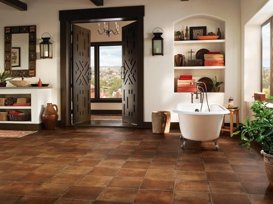 Laminate flooring that looks like tile for bathroom