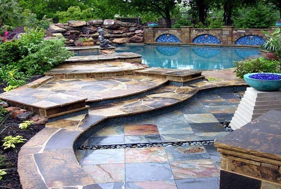 Outdoor flooring options with multi color stones