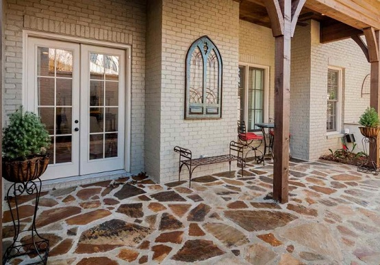 Outdoor flooring options with natural multi color stones