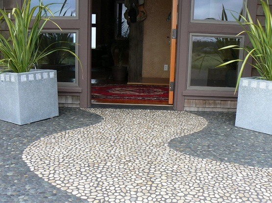 Pebble stone flooring installed at terrace