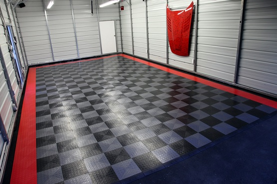 Rubber interlocking garage floor tiles with coin top pattern
