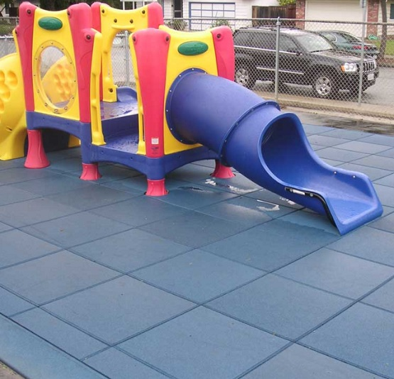 Rubber playground mats with easy installation
