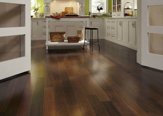 Waterproof wood flooring in a white kitchen