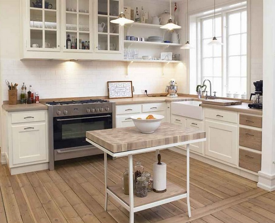 Waterproof wood flooring in small kitchen