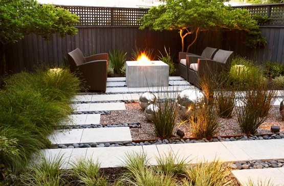 White tile garden flooring ideas with wooden garden chair