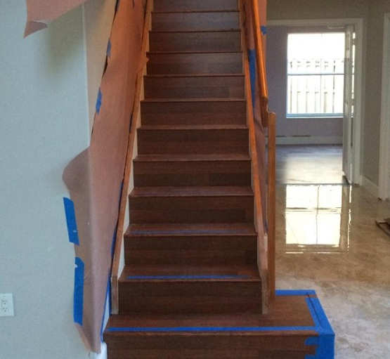 Wooden laminate flooring for stairs installation