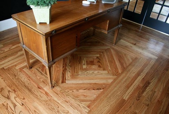 Beautiful wood flooring pattern in home office