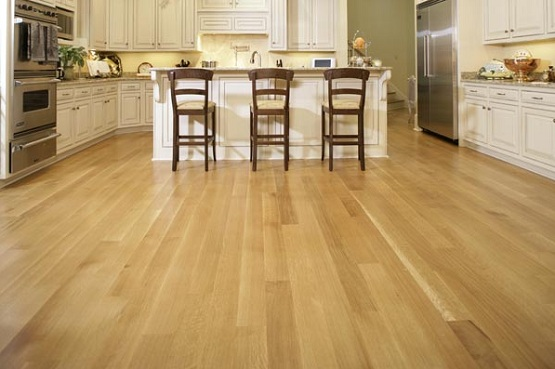 Wood flooring straight pattern installation in kitchen