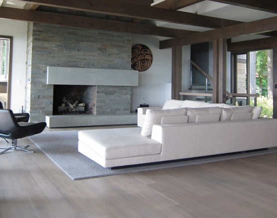 Contemporary living room with grey wood floor stain