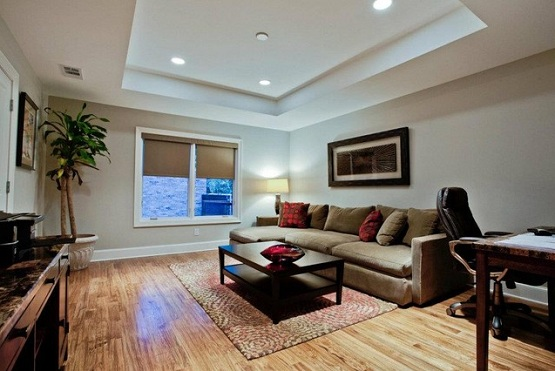 Custom hardwood flooring options for living room in contemporary style