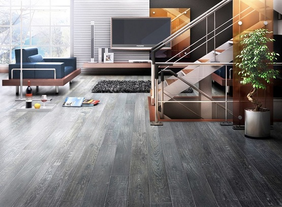 Dark grey wood floor stain living room